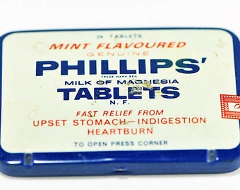 Vintage Genuine Mint Flavored Phillips Milk of Magnesia Tin / Vintage Antacid Tablets /  Milk of Magnesia Antacid Tablets in Tin