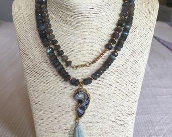 labradorite necklace w/ agate & tassel