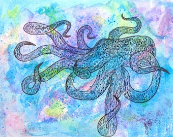 Octopus Painting, Nautical Decor, Octopus Art, Abstract Octopus, Ocean Art, Beach Decor, Bathroom Decor, Unique Gift Idea