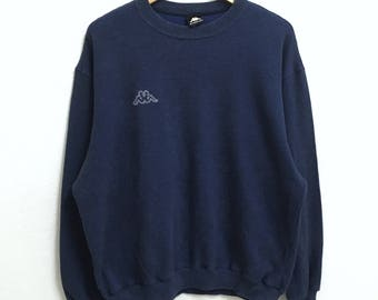 RARE!!! KAPPA Small Logo Embroidery Crew Neck Dark Blue Colour Sweatshirts Hip Hop Swag L Size