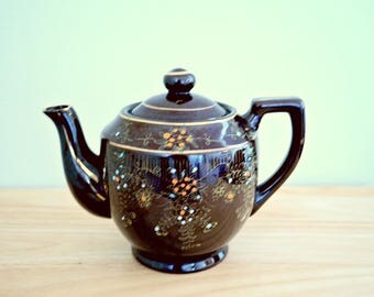 Vintage Hand Painted Japanese Redware Brownware Ceramic Glazed Teapot
