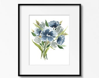 Blue Gray Bouquet - 8x10 Original Watercolor