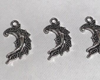 Pententif breloque charms demi lune argent vieilli x3