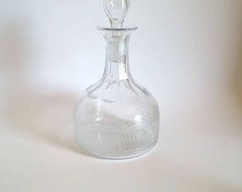 Etched Glass Liquor Decanter  Starburst Cut Bottom