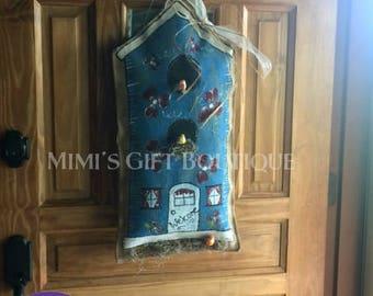 Burlap Bird House Door Hanger