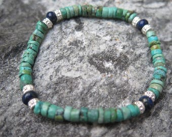 Turquoise Braclet AB Quality with Lapislazuli Buttons and 925 Silver