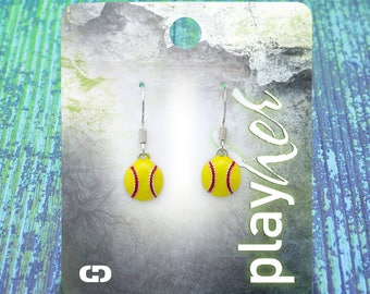 Enamel Softball Dangle Earrings - Great Softball Gift! Free Shipping!