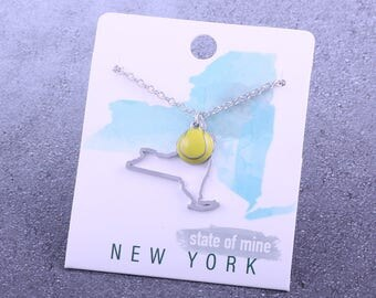 Customizable! State of Mine: New York Tennis Enamel Necklace - Great Tennis Gift!
