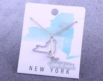 Customizable! State of Mine: New York Lacrosse Stick Silver Necklace - Great Lacrosse Gift!