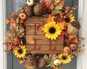 Fall Floral Sign // Autumn Decor // Fall Decor // Autumn Wreath Add-On