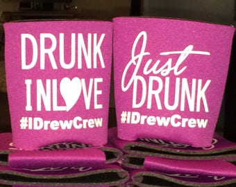 Beverage Holder, personalized can cooler, Bachelor, Bachelorette, Birthday Parties, Vacation, Baby Announcements and more