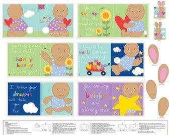 "STUDIOe ""Huggable & Loveable"" Cloth Book 100% Cotton Fabric Panel (#56)"