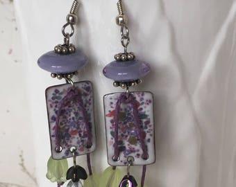 Lilac Garden Earrings, Enameled Earrings, Garden Theme Earrings, Floral Earrings, Beaded Earrings, Drop Earrings, Dangle Earrings