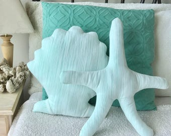 SET OF 2: Starfish & Seashell Pillows - Mermaid Decor Beach House Under the Sea Bedroom Nursery Nautical Pillows Baby Shower Birthday Party
