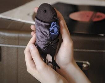 OOAK Art Doll, Flurry- textile bird