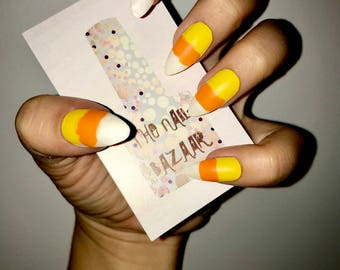 Candy Corn Acrylic Nails