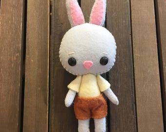 Gingermelon Gray Bunny Doll, Gingermelon Felt Bunny Doll, Gray Rabbit, Bunny Softie