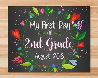 First Day of 2nd Grade Sign - First Day of Second Grade Sign - August 2018 - Floral Chalkboard - First Day of School Photo Prop Sign