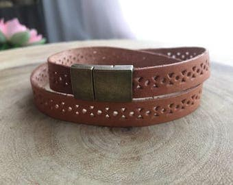 Men's leather bracelet ,Brown bracelet, Mens jewelry, mens bracelet, gift for him, wrap around bracelet, Triple bracelet, leather cuff
