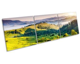 Countryside Landscape Green CANVAS WALL ART Three Panel Box Frame Print