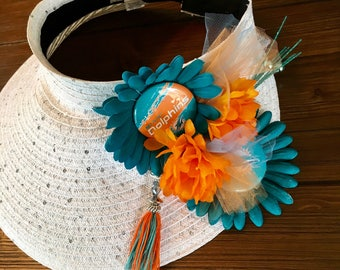 Miami Dolphins Diva Visor, Dolphins Fan Hat, Miami Dolphins Fan Gift, Sports Team Custom Visor, CUSTOMIZE to your favorite team!