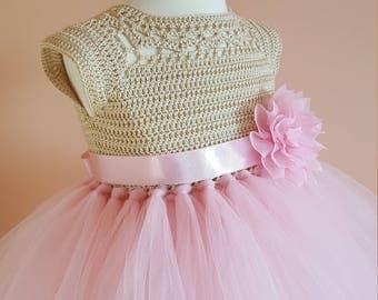 Pink and gold tutu dress, crochet dress, crochet yoke, princess dress, bridesmaid dress,gold dress,toddler dress, baptism dress, flower girl