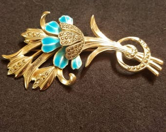 Vintage Sterling Silver and Marcasite Brooch with Blue Enamel