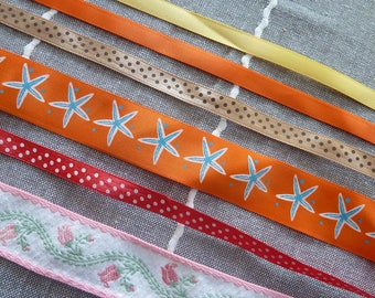 set of 6 plain ribbons and flowers, stars, polka dots patterned