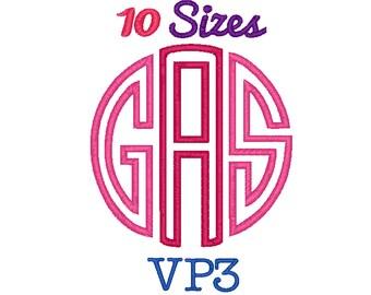 Circle Monogram Applique Font Machine Embroidery Fonts VP3 Format File Pack Set 10 Sizes Digital Embroidery Design Instant Download