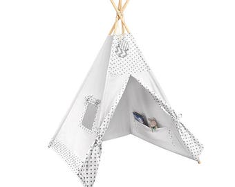 Tipi - Kids Play Tent Teepee - Tiny Grey Dots