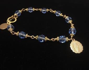 Light Sapphire Swarovski Crystal Bracelet Cross Charm,  Religious Bracelet, Catholic Bracelet, Religious Jewelry