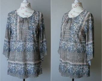 Vintage HOROSKOP semi sheer beige light blue women's blouse in pastel tones pattern Assimetryc sleeve Mesh lace up blouse See through top