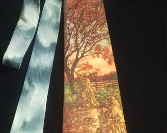 1950s Vintage Men's Neck Tie / Colour photo -AUTUMN SPLENDOUR - classic  by PARK lANE