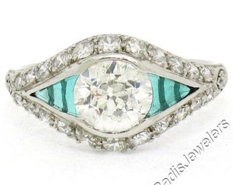 Antique Art Deco Platinum 1.65ctw Old European Diamond & Emerald Engagement Ring