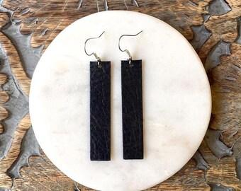 Black Leather Drop Earrings