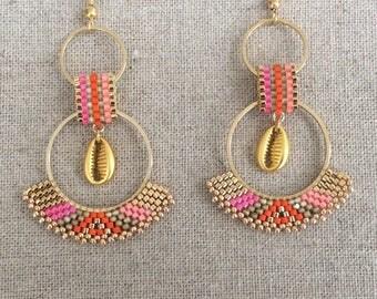 Earrings Rosita orange and fuchsia