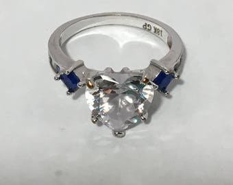 heart CZ diamond white gold ring with sapphires, size 8