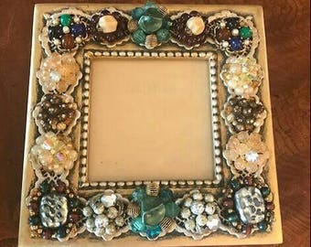 Gold and Green square embellished picture frame jeweled vintage earrings