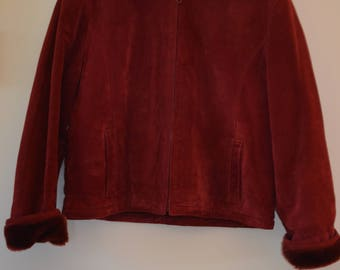 SALE 25%!  Burgundy leather winter coat lined 90's / M