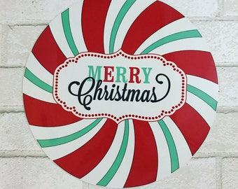 Peppermint Sign - Christmas Sign - Red and Mint Candy Sign - Wreath Sign