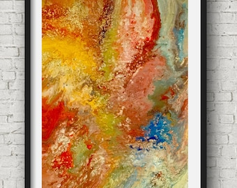 Abstract Earth Art, Fluid Acrylic Art, Original Painting on Canvas, Gold Blue Art, Earth Tones Art, Red Gold Art, Gold Leaf