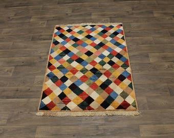 Colorful Contemporary Design Gabbeh Persian Wool Rug Oriental Area Carpet 3ʹ5X5