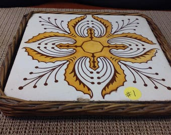 porcelian #1 trivet with wicker holder made in Spain in mid-1900s
