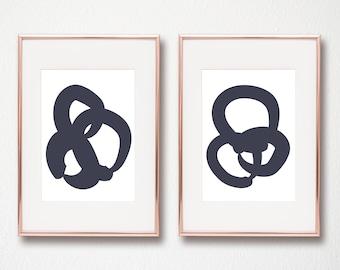 Modern navy art digital art prints set of 2 printable wall art 8x10 and 11x14 abstract art instant download set of 2 art prints
