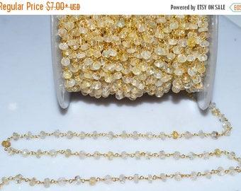 50% OFF Beautiful Lemon Topaz Rosary Beaded Chain-Lemon Topaz Beaded Gold Wire Wrapped Chain , 4.50-5 mm - RB5015