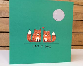 Let's Fox - Square Greetings Card