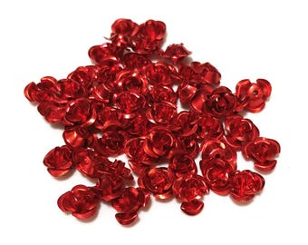 Lot of 200 Red Aluminium Roses, vintage findings