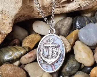 Anchor & Map Necklace - Travel Necklace - Anchor Necklace - Map Necklace - Silver Anchor Necklace - Nautical Jewelry - Travel Jewelry