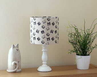 Cute cat faces - High Quality Lampshade - Handmade in UK Using Best Fabrics Printed in Britain