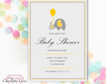 Baby Shower Invite - Personalised Invitation - Elephant Design - Digital Download File - Printable Invitation